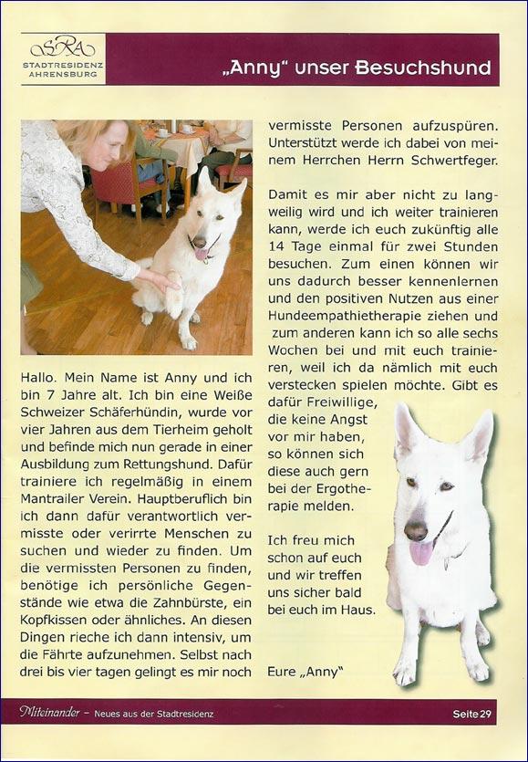 Unser Besuchshund Anny in der Stadtresidenz Ahrensburg